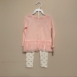 Carters outfit hearts gold pink 3t